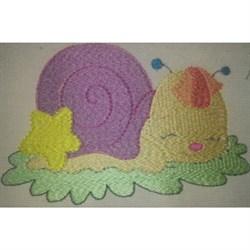 Snail Sleepy embroidery design