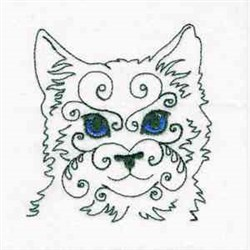Swirly Cat embroidery design