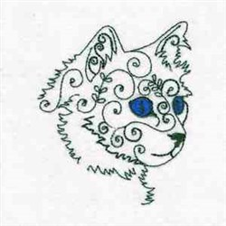 Swirly Face Kitty embroidery design