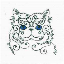 Swirly Kitten embroidery design