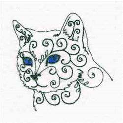 Swirly Cat Stare embroidery design