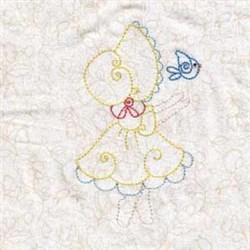 Girl & Bird embroidery design