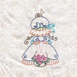 Girl & Blossoms embroidery design