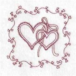 Heart & Ribbon embroidery design