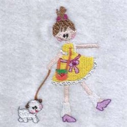 Girl & Dog embroidery design