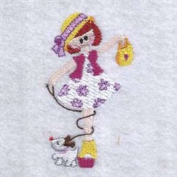 Girl And Dog embroidery design