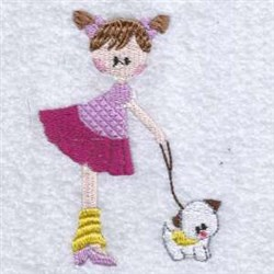 Girl On Dog Walk embroidery design