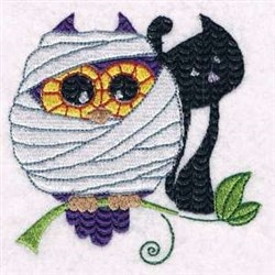 Owl & Cat embroidery design