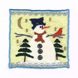 Snowman & Bird embroidery design