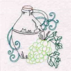 Wine Bottle & Grapes embroidery design