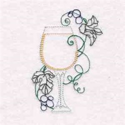 Wine Glass Swirl embroidery design