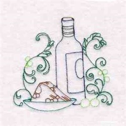 Wine & Cheese embroidery design