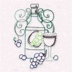 Wine Bottle & Glass embroidery design