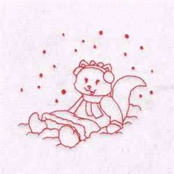 Snow Kitty embroidery design