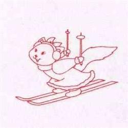 Snow Ski Kitty embroidery design
