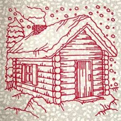 Winter Cabin embroidery design