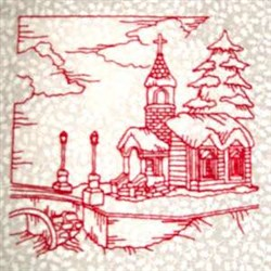 Winter Church embroidery design