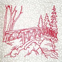 Winter Bridge embroidery design