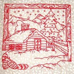 Winter Cabin Scene embroidery design