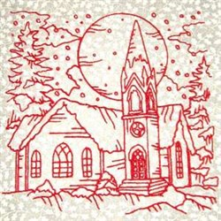Winter Church Scene embroidery design