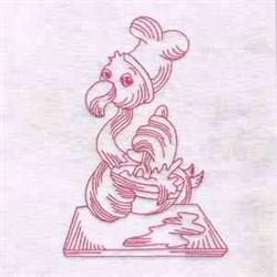 Chef Flamingo embroidery design