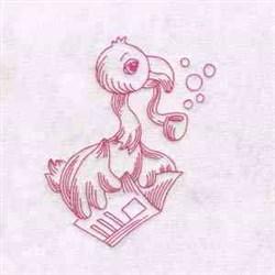 Newspaper Flamingo embroidery design