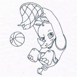 Basketball Rhino embroidery design