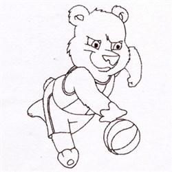 Basketball Bear embroidery design