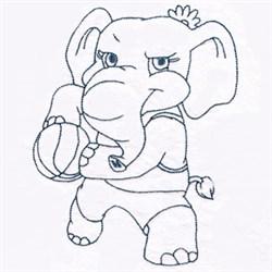 Basketball Elephant embroidery design