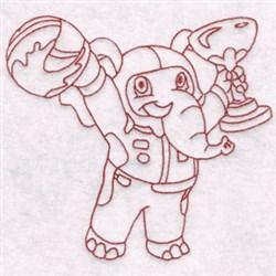 Racer Elephant embroidery design