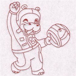 Race Hippo embroidery design