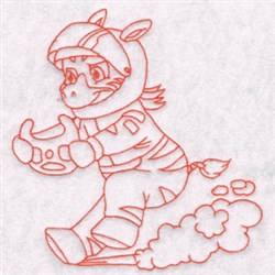 Race Zebra embroidery design