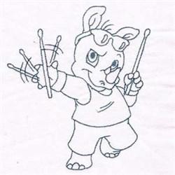 Rhino Rockstar embroidery design