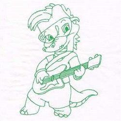 Dino Rockstar embroidery design