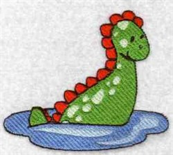 Dino in Water embroidery design