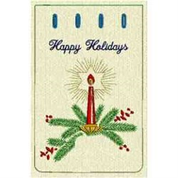 Happy Holiday Candle embroidery design