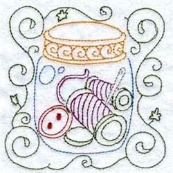 Thread Jar Redwork embroidery design