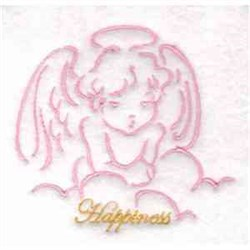 Happiness Angel Redwork embroidery design