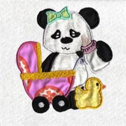 Applique Panda Pram embroidery design