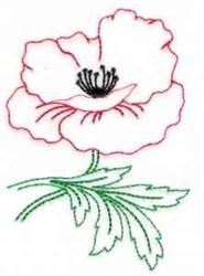 Poppy Redwork embroidery design