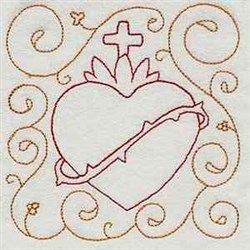 Sacred Heart Block embroidery design