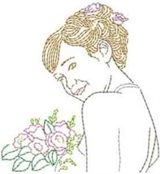 Bride With Bouquet embroidery design