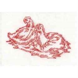 Redwork Hens embroidery design