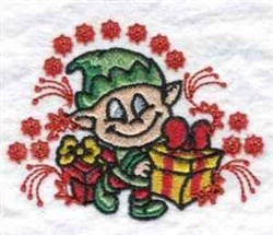 Elf With Gift embroidery design