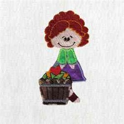 Girl  & Apples embroidery design