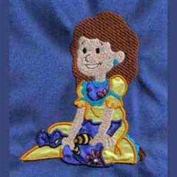 Sitting Girl embroidery design