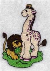 Giraffe & Lion embroidery design