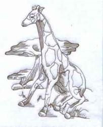 African Giraffe embroidery design