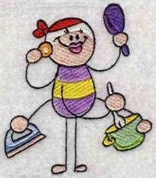 Housework Stick Figure embroidery design