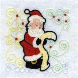 Santa & List embroidery design